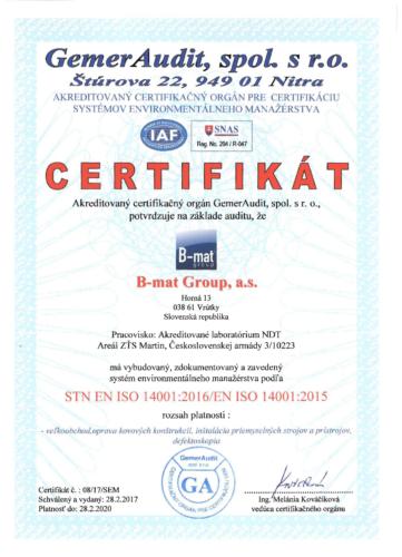 Certifikát STN EN ISO 14001