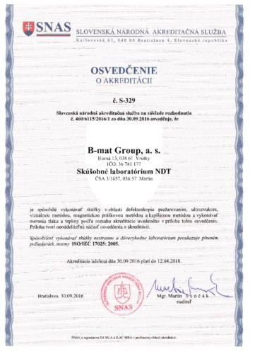 Osvedčenie o akreditácii 30.9-´.2016