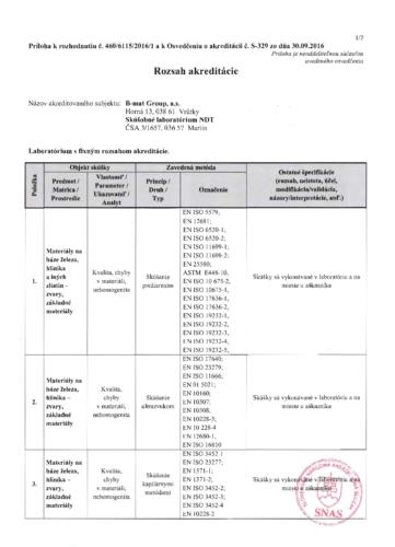 Rozhodnutie SNAS – rozsah-akreditácie